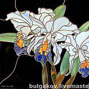 """Картины и панно ручной работы. Ярмарка Мастеров - ручная работа Картина """"Белые орхидеи"""". Витраж Тиффани.. Handmade."""