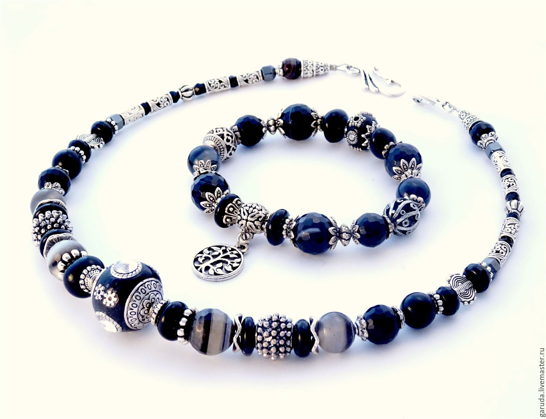 Set bracelet and necklace with black agate, Bracelet set, Ubud,  Фото №1