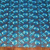 Материалы для творчества ручной работы. Ярмарка Мастеров - ручная работа Кружево вышитое ярко-голубое. Handmade.