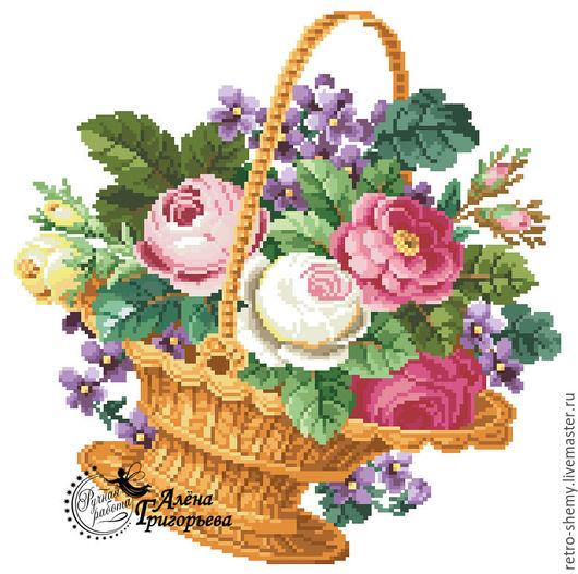 """Вышивка ручной работы. Ярмарка Мастеров - ручная работа. Купить Схема вышивки """"Корзина цветов"""". Handmade. Схема для вышивки, ретро"""