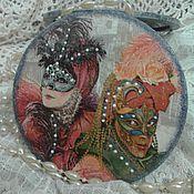 """Для дома и интерьера ручной работы. Ярмарка Мастеров - ручная работа """"Карнавал в  Венеции"""" зеркало круглое карманное. Handmade."""