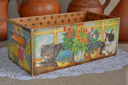 """Корзины, коробы ручной работы. Ярмарка Мастеров - ручная работа. Купить Короб-ящик """"Дом не прекрасен без кошек..."""" :). Handmade."""