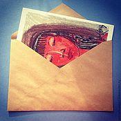 Бумага ручной работы. Ярмарка Мастеров - ручная работа Конверт  для открыток из крафт-бумаги. Handmade.