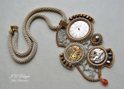 """Колье, бусы ручной работы. Ярмарка Мастеров - ручная работа. Купить Колье """"The old clock"""". Handmade. Время, кулон"""