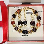 handmade. Livemaster - original item Jewelry sets: bracelet and earrings made of stones for Leo and Virgo. Handmade.