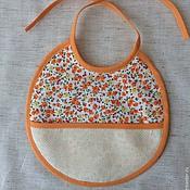 Комплекты одежды ручной работы. Ярмарка Мастеров - ручная работа слюнявчик с канвой для вышивки. Handmade.