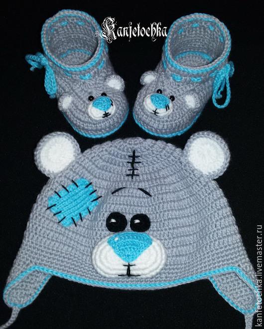 """Для новорожденных, ручной работы. Ярмарка Мастеров - ручная работа. Купить Комплект """" Мишка Тедди"""". Handmade. Серый"""