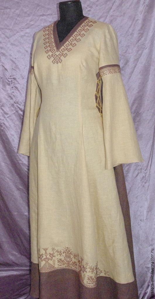 Платье из льна бежевое, Одежда, Санкт-Петербург, Фото №1