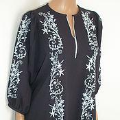 """Одежда ручной работы. Ярмарка Мастеров - ручная работа блузка """"нежность"""" в темно-синем цвете с голубой вышивкой. Handmade."""