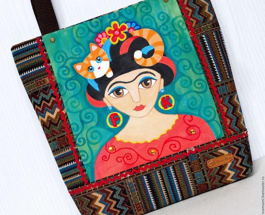 """Женские сумки ручной работы. Ярмарка Мастеров - ручная работа. Купить """"Фрида Кало"""" женская сумка. Handmade. Комбинированный, картина"""