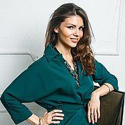 Одежда ручной работы. Ярмарка Мастеров - ручная работа Платье рубашка зеленого цвета. Handmade.