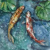 Картины и панно ручной работы. Ярмарка Мастеров - ручная работа Картина акварелью с рыбами Три карпа кои. Handmade.
