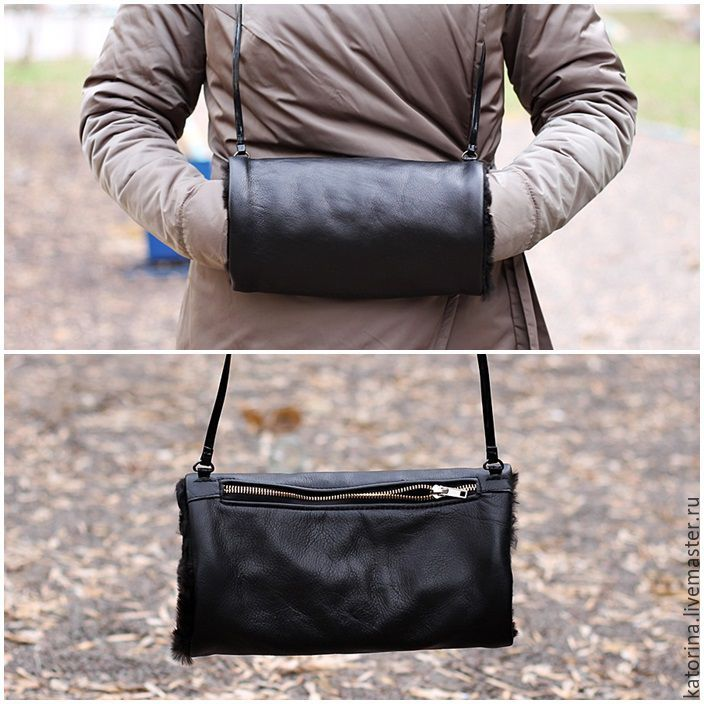 Muff is warm, elegant and comfortable. Suitable for any age. Serves as a dressy accessory. The handle of the clutches are also made of natural suede or leather for choice. On the reverse side, there i