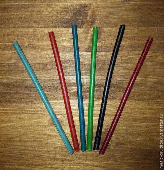 Эзотерические аксессуары ручной работы. Ярмарка Мастеров - ручная работа. Купить Свеча восковая цветная ручной работы 16х0,6 см. Handmade.
