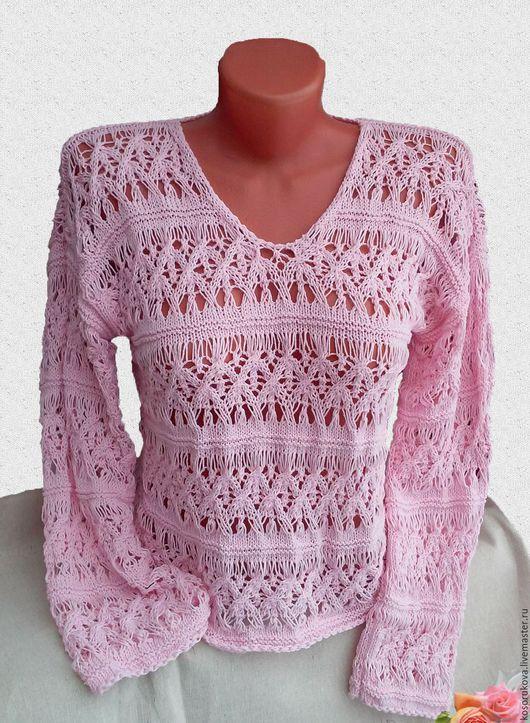 """Кофты и свитера ручной работы. Ярмарка Мастеров - ручная работа. Купить Пуловер """"Невесомость"""". Handmade. Бледно-розовый, пуловер спицами"""