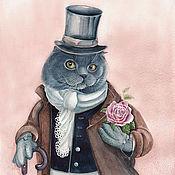 Картины и панно ручной работы. Ярмарка Мастеров - ручная работа Картина акварелью с котом Сэр кот с розой. Handmade.
