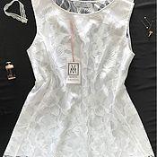 Одежда ручной работы. Ярмарка Мастеров - ручная работа Расклешеный топ из белоснежного кружева и шёлка. Handmade.