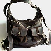 Massandra. Сумка-рюкзак из коричневой кожи крейзи хорс