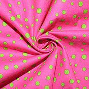 Материалы для творчества ручной работы. Ярмарка Мастеров - ручная работа Американский хлопок-фланель  ЯРКИЙ ГОРОШЕК на розовом фоне. Handmade.