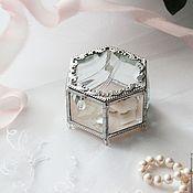 """Свадебный салон ручной работы. Ярмарка Мастеров - ручная работа """"Чайная роза"""" Стеклянная шкатулка для обручальных колец. Handmade."""