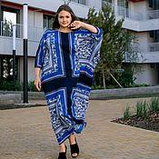 Одежда handmade. Livemaster - original item A chic floor length oversize dress in viscose blue. Handmade.