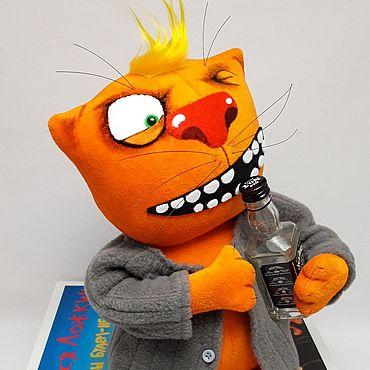 Куклы и игрушки ручной работы. Ярмарка Мастеров - ручная работа Мягкая игрушка рыжий плюшевый кот в ватнике для любителей котов. Handmade.