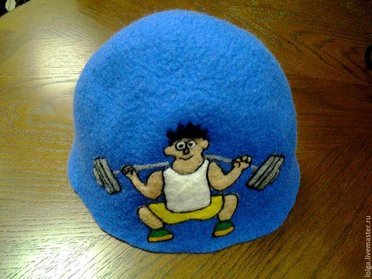 Банные принадлежности ручной работы. Ярмарка Мастеров - ручная работа. Купить Физкульт-привет!. Handmade. Голубой, банная шапка