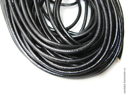 Шнур для бижутерии, черный из натуральной кожи 3 мм