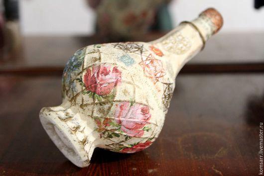 Декоративная посуда ручной работы. Ярмарка Мастеров - ручная работа. Купить Бутылка Винтажный орнамент. Handmade.  Звёзды, розы, цветы, сердце, ключик, винтаж, подкова, ноты, кружево, орнамент.
