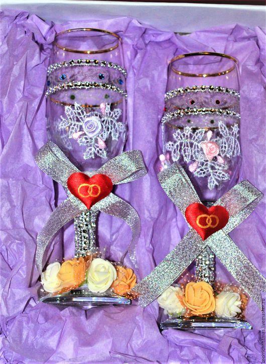 Свадебные аксессуары ручной работы. Ярмарка Мастеров - ручная работа. Купить Свадебные бокалы в коробке. Handmade. Белый, бокалы на свадьбу