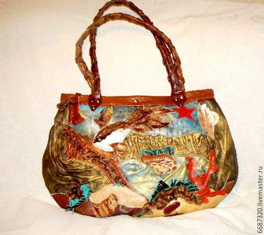 Женские сумки ручной работы. Ярмарка Мастеров - ручная работа. Купить сумка кожаная Золотая рыбка -исполнительница жела ний. Handmade.