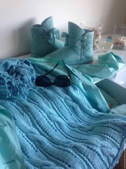 Кофты и свитера ручной работы. Ярмарка Мастеров - ручная работа. Купить Женский вязаный бирюзовый свитер АТОЛЛ хлопок. Handmade.