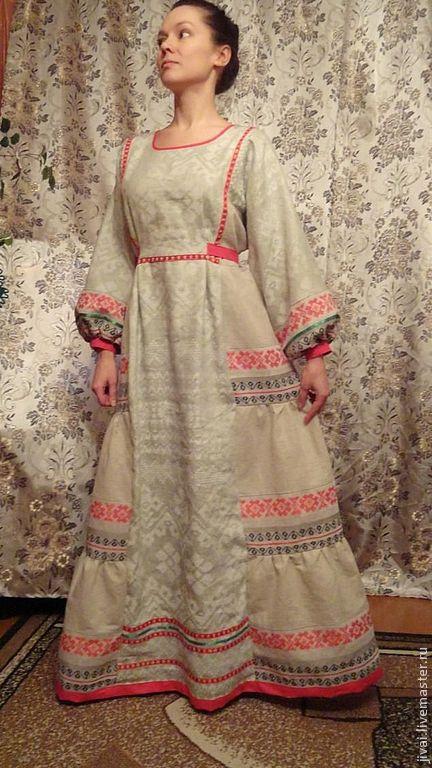 Платья ручной работы. Ярмарка Мастеров - ручная работа. Купить платье СЛАВУШКА. Handmade. Серый, лён 100%