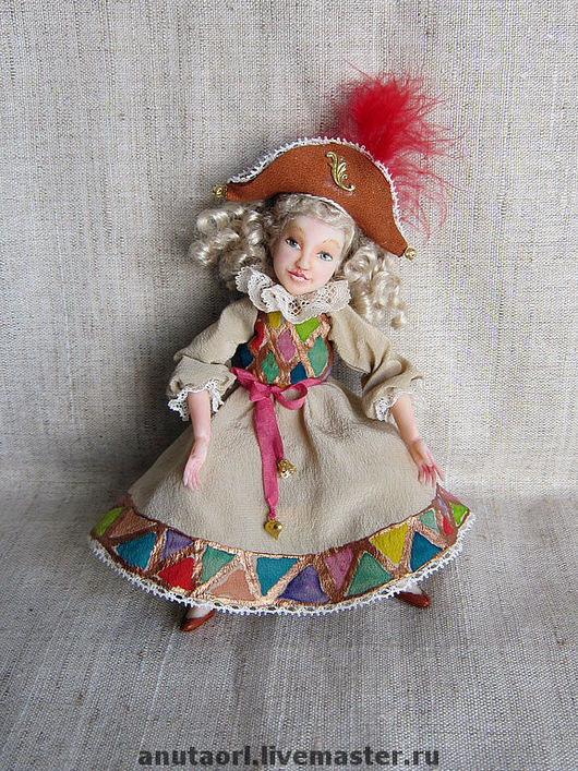 """Коллекционные куклы ручной работы. Ярмарка Мастеров - ручная работа. Купить Кукла """"Коломбина"""". Handmade. Подарок, театр, кожа натуральная"""