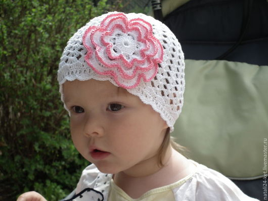 Кепки ручной работы. Ярмарка Мастеров - ручная работа. Купить шапочка цветочек детская. Handmade. Белый, Вязание крючком, на заказ