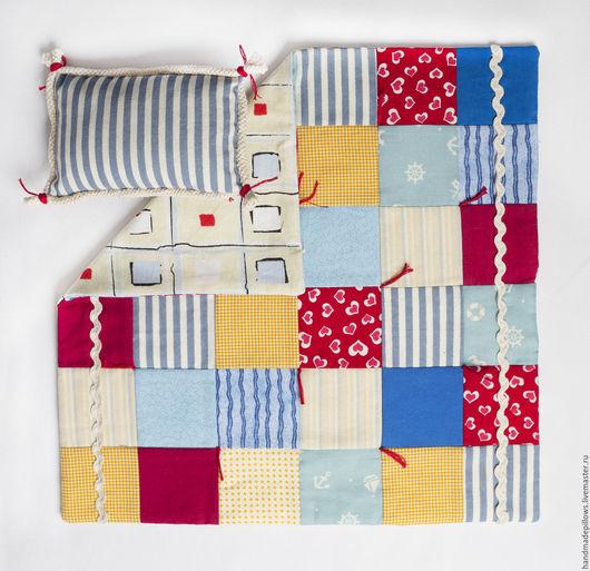 """Кукольный дом ручной работы. Ярмарка Мастеров - ручная работа. Купить Одеяло для куклы """"Морское"""". Handmade. Одеяло для куклы, морское"""