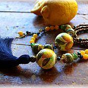 """Украшения ручной работы. Ярмарка Мастеров - ручная работа Комплект подвеска и браслет """"Лимонное суфле"""". Handmade."""