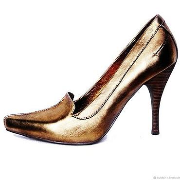 Обувь ручной работы. Ярмарка Мастеров - ручная работа Бронзовые туфли из натуральной кожи с острым мысом. Handmade.
