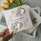 Свадебный салон handmade. Livemaster - original item Wedding card in a purse mother of pearl IN STOCK. Handmade.