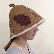 Дача и сад handmade. Livemaster - original item SHEEPSKIN hat bath (with leaf). Handmade.