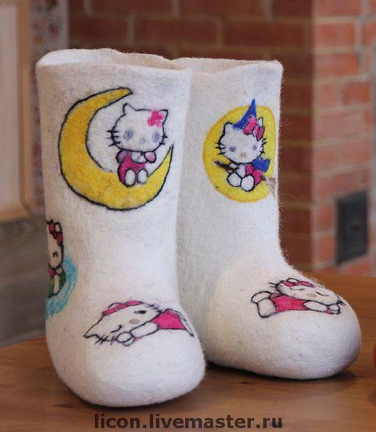 Обувь ручной работы. Ярмарка Мастеров - ручная работа. Купить Китти валенки. Handmade. Валенки, Валенки детские, валяная обувь