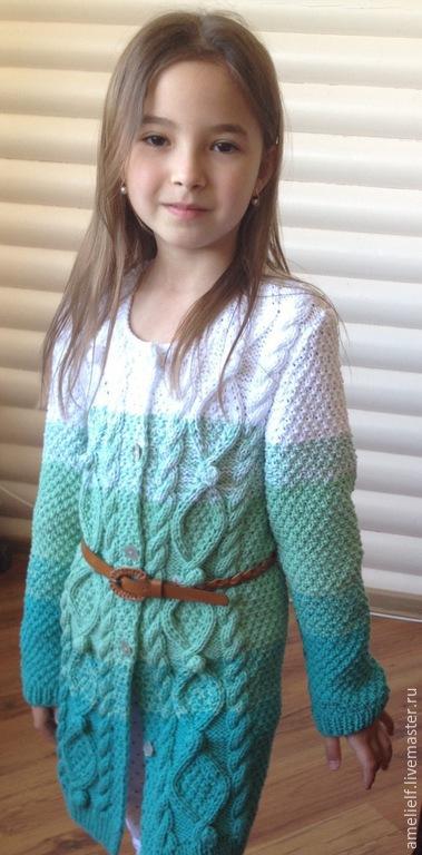 """Одежда для девочек, ручной работы. Ярмарка Мастеров - ручная работа. Купить Кардиган """"Мятная симфония"""". Handmade. В полоску, для девочки"""