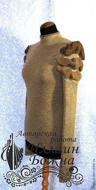 Кофты и свитера ручной работы. Ярмарка Мастеров - ручная работа. Купить Кофта Ивовый короед. Handmade. Бежевый, переход цвета
