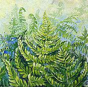 Картины и панно handmade. Livemaster - original item Fern in a haze, oil painting. Handmade.