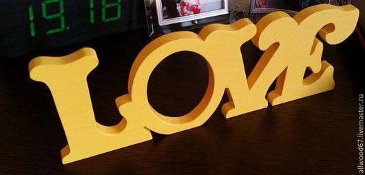 Интерьерные слова ручной работы. Ярмарка Мастеров - ручная работа. Купить Фоторамка love. Handmade. Желтый, фоторамка из дерева, фотосессия