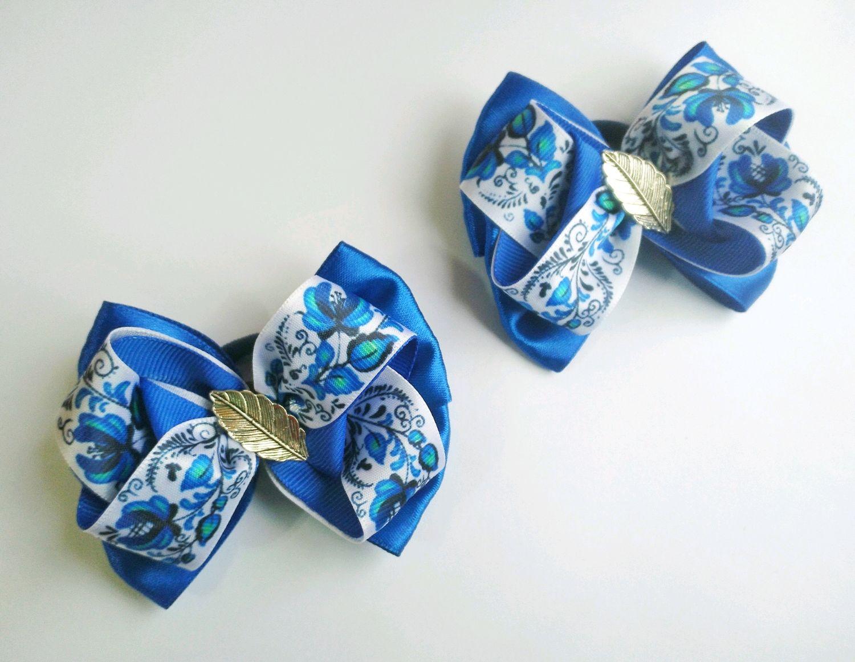 Бантики для девочки, гжель, синие резиночки,для школы, подарок девочке, Резинка для волос, Уварово,  Фото №1