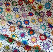 """Для дома и интерьера ручной работы. Ярмарка Мастеров - ручная работа Плед """"Цветы на белом"""". Handmade."""