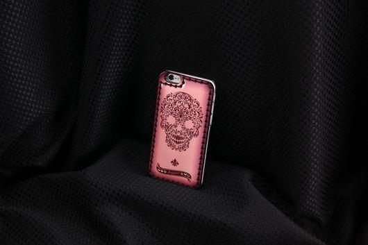 Для телефонов ручной работы. Ярмарка Мастеров - ручная работа. Купить Чехол для iPhone 7/7 plus- 6/6s/ 6plus Pink FLorid Skull. Handmade.