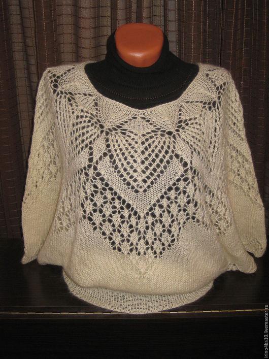 Кофты и свитера ручной работы. Ярмарка Мастеров - ручная работа. Купить Ажурная блуза из мохера. Handmade. Белый, мохер, пуловер