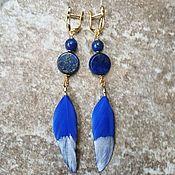 Украшения handmade. Livemaster - original item Earrings with Lapis lazuli and feathers - blue BIRD. Handmade.